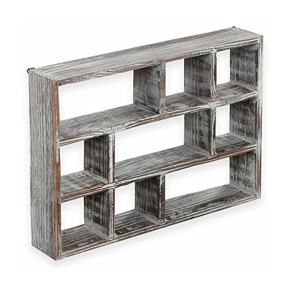 MyGift 15-Inch 9-Compartment Torched Wood Freestanding & Wall Mountable Shadow Box Display Shelf - A rustic wood designed to freestanding or wall-mounted cubby display shelf Boasts 9 compartments in various shapes and sizes to allow for versatile display options and eye-catching style Small size cubby case for displaying small curios, collectibles, toys, awards, plants and more - wall-shelves, living-room-furniture, living-room - 51y1%2B4tgq1L. SS570  -