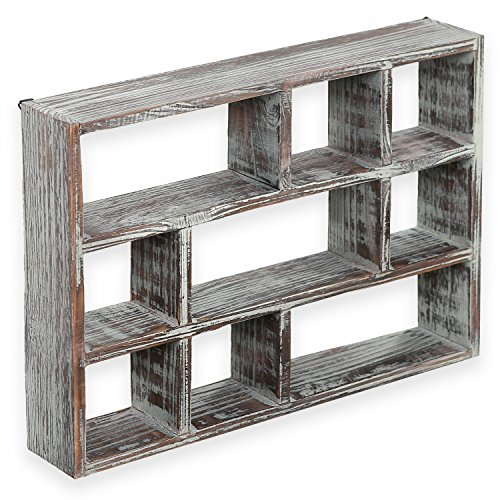 15 Inch 9 Compartment Rustic Wooden Freestanding & Wall Mountable Shadow Box Display Shelf - Curio Display Shelf