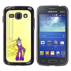 CASEX Cases / Samsung Galaxy Ace 3 GT-S7270 GT-S7275 GT-S7272 / Purple Old Pimp - Funny # / Delgado Negro Plástico caso cubierta Shell Armor Funda Case Cover Slim Armor Defender