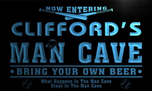 qb147-b Clifford's Man Cave Baseball Neon Beer Sign by AdvPro Name