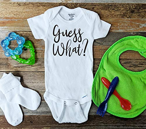 (Guess What Pregnancy Announcement Onesie, Baby reveal surprise grandparent husband)