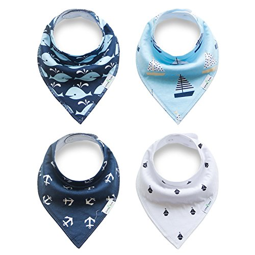 Bandana Baby Bibs 4 Pack Organic for Boys and Girls Absorbent Soft Cotton With Snaps for Teething Drooling Feeding