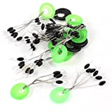 uxcell® 15pcs Green Black Ring 6 in 1 Oval Rubber Float Stop Fishing Stopper