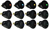 Aoyoho 12pcs Car Truck Rocker Round Toggle LED Switch On-Off Control, Blue, Green, Yellow, Red(12V 20A)