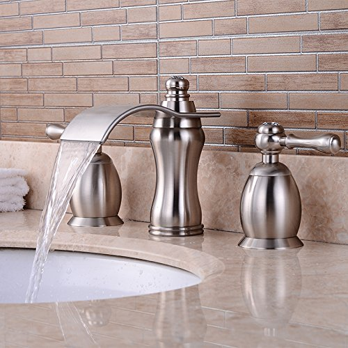 Wovier Brushed Nickel Waterfall Bathroom Sink Faucet,Two Handle Three Hole Lavatory Faucet,Widespread Basin Mixer Tap With Pop Up Drain,8 Inch Bathroom Faucet by Wovier