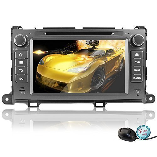 """YINUO Quad Core Android 4.4 8"""" 1024 HD Capacitive Touch Screen Car DVD GPS Stereo for Toyota Sienna In-Dash Navigation AV receiver w/ Airplay Steering Wheel Control/Bluetooth"""