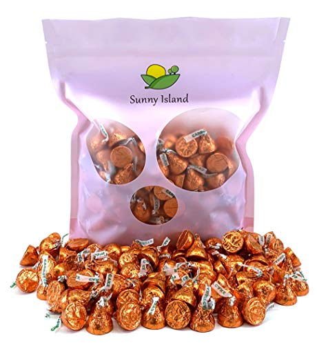 Sunny Island Bulk - Hershey's Kisses Carrot Cake Easter Candy Orange Foil, 2 Pounds Bag