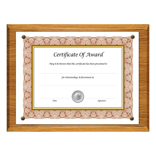 NuDell 18812M Award-A-Plaque Document Holder, Acrylic/Plastic, 10-1/2 x 13, Oak (Assembly Dell)