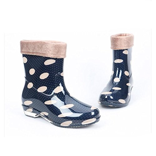 Cover Half Ankle Blue Wellington Slip Rubber Warm Shoe Women's Short Length Non JOMNM Plush Boots Wellies pxfqBatw6n