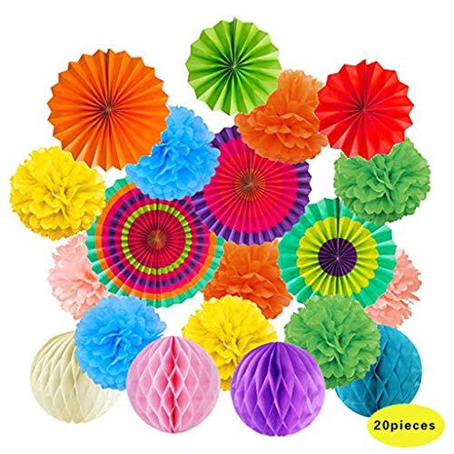❤️Jonerytime❤️Hanging Paper Fans Tissue Paper Pom Poms Flower and Honeycomb Balls-Colorful White