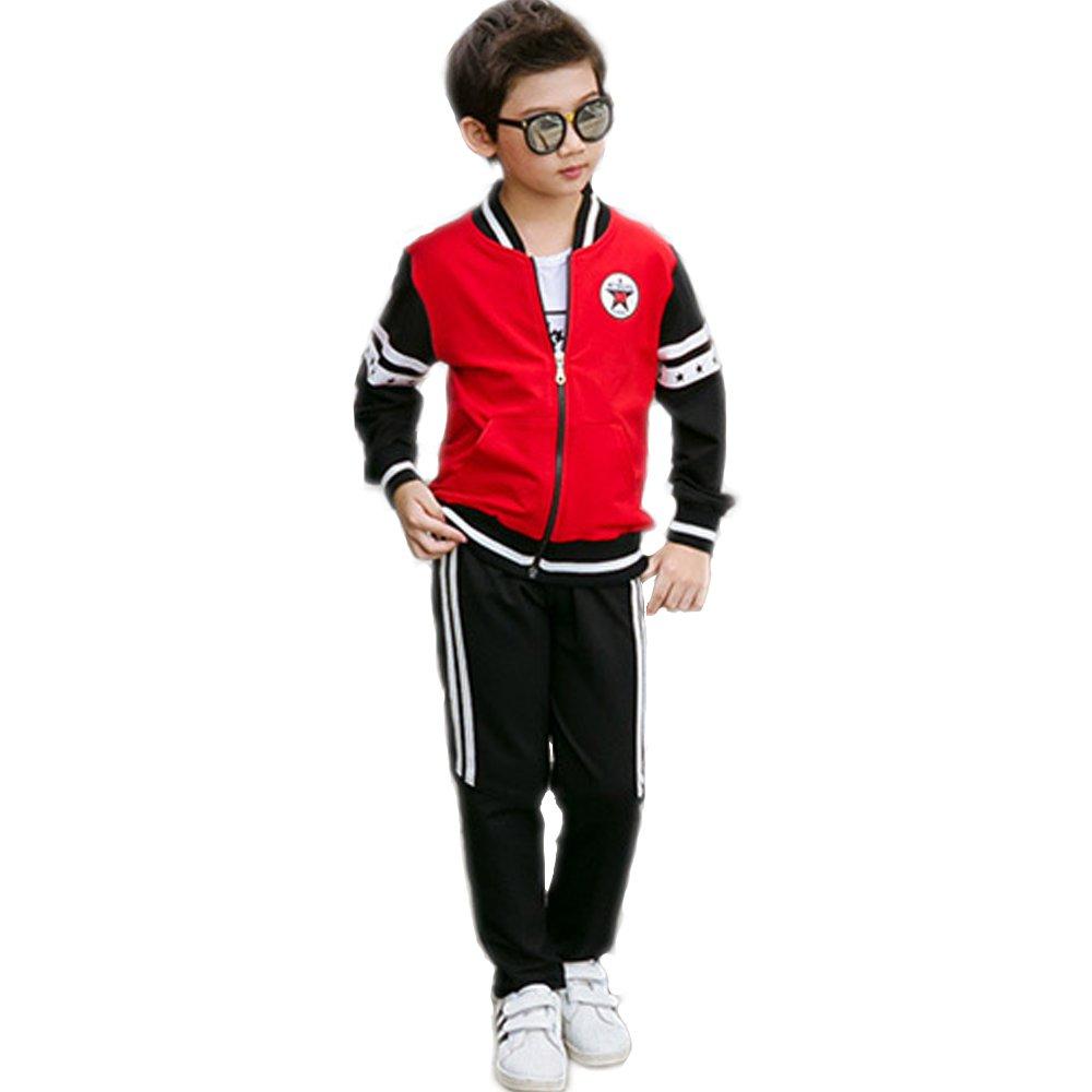 OnlyAngel Kids Boys Athletic Tracksuits Zipper Jacket & Elastic Waist Pants Set Age 3-12