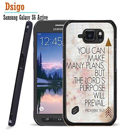 (Galaxy S6 Active Case, Samsung S6 Active Case, Dsigo TPU Black Full Cover Protective Case for New Samsung Galaxy S6 Active - Retro Vintage Aztec PROVERBS 19:21)