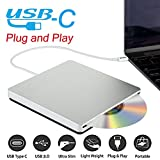 Ploveyy USB-C Superdrive External DVD/CD Reader and DVD/CD Burner for latest Mac Pro/MacBook Pro/ASUS /ASUS/DELL Latitude with USB-C Port Plug and Play (Silver)