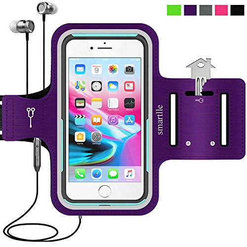 Sport Armband Water Resistant Running Case for iPhone Xs Max,XR,8 Plus,7 Plus,6s Plus,Samsung Galaxy,LG,MOTO,with case (otterbox/others) on.Fitness Gym Workout Case Key/Card Holder,Cable locker-Purple