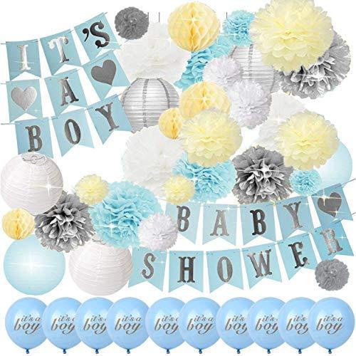 42PCS | Baby Shower Decorations Party | Gender Reveal Set for Boy | Balloons, Banner, Lanterns, Honeycomb Balls & Tissue Paper pom poms ()