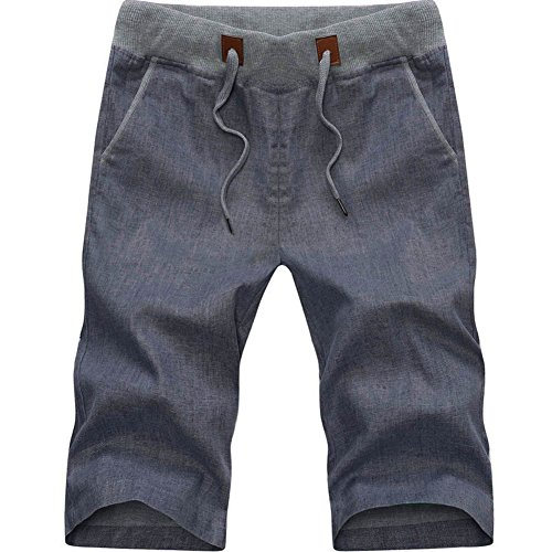 Plaid&Plain Men's Slim Fit Elastic Waist Drawstring Linen Shorts DarkGrey L Plaid Knee Shorts