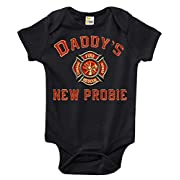Rapunzie Daddy's New Probie Baby Bodysuit Cute Baby Clothes for Infant Boys and Girls (0-3 Months, Black)
