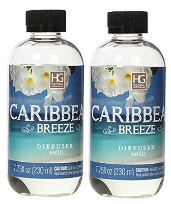 Hosley Set of 2 Premium Caribbean Breeze Reed Diffuser Refills Oil, 230 ml (7.75 fl oz) Made in USA. BULK BUY. Ideal GIFT for weddings, spa, Reiki, Meditation settings O4