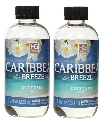 (Hosley Set of 2 Premium Caribbean Breeze Reed Diffuser Refills Oil, 230 ml (7.75 fl oz) Made in USA. Bulk Buy. Ideal Gift for Weddings, spa, Reiki, Meditation Settings W1)