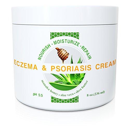 Sauvage Naturals Eczéma et Psoriasis Crème Manuka Honey + Aloe Vera + beurre de karité + huile de coco + huile de chanvre, 8 oz