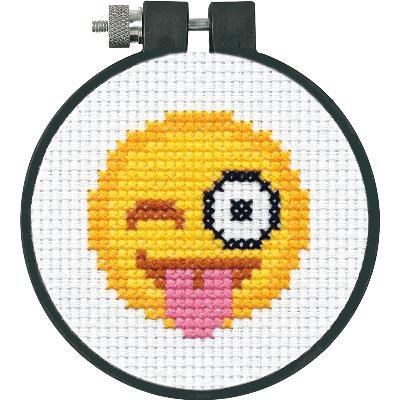 Dimensions Winking Tongue Out Emoji Mini Counted Cross Stitch Kit for Beginners, 11 Count White Aida, 3