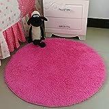 Hoomy Modern Fluffy Rug Round Hot Pink Floor Mats For Bedroom Area Rugs  Nonslip High Pile Floor Rugs For Girlsu0027 Room 35 Inch