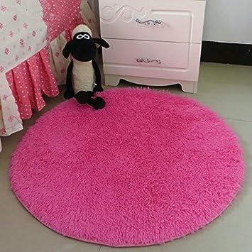 Hoomy Modern Fluffy Rug Round Hot Pink Floor Mats For Bedroom Area Rugs  Nonslip High
