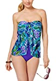 RALPH LAUREN Lauren Women's Lush Tropical Print Mesh Flyaway One-Piece Swimsuit (Blue, 12)