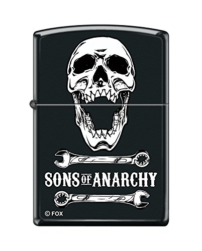 - Zippo Sons of Anarchy Skull and Wrench Black Matte Pocket Lighter