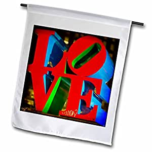 3dRose fl _ 55952_ 1Escultura amor Philadelphia bandera de Jardín, 12por 45,72cm