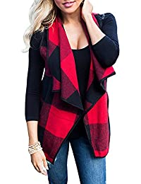 Women's Lapel Lightweight Sleeveless Open Front Plaid Vest Cardigan Coat With Pockets
