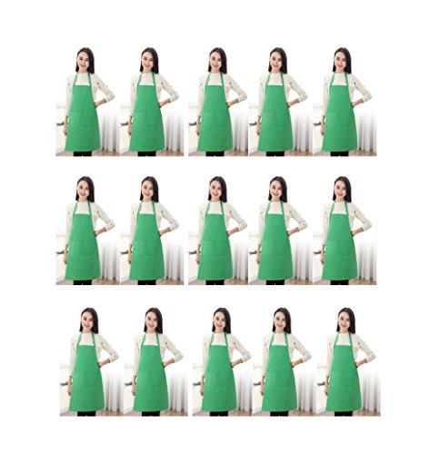 TSD STORY Total 15 PCS Green Plain Bib Aprons Bulk for Women Men-Unisex Adult Aprons with 2 Front Pockets (Leaf Green-15 pcs)