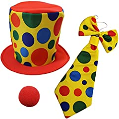 Fun costume/ role-play clown set for children of all ages. Includes satin & felt clown hat, polka-dot clown bow tie, polka dot neck tie and foam nose. Perfect for hours of play or dress-up for your little one.