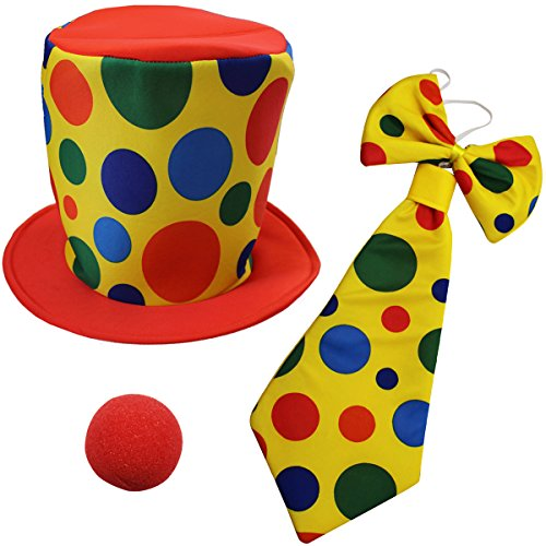 Funny Party Hats Clown Costume - Clown Hat, Jumbo Tie & Clown Nose - Clown Accessories -