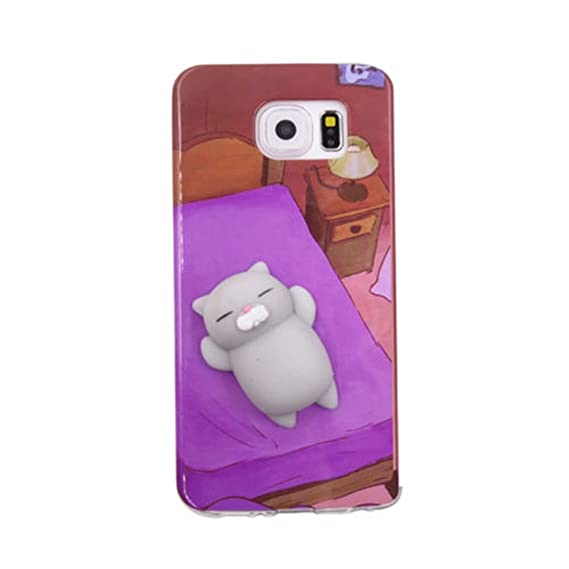 cheap for discount 225c7 9cc36 Squishy Case for Galaxy s7 edge,Cute 3D Soft Silicone Cute Bear Toy on Back  for Release Stress Protective Phone Cover for Samsung Galaxy S7 Edge (bed  ...