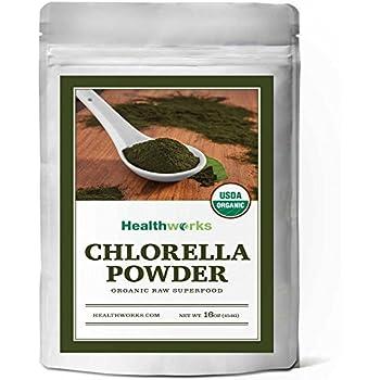Healthworks Chlorella Powder Raw Organic (Cracked Cell Walls), 1lb