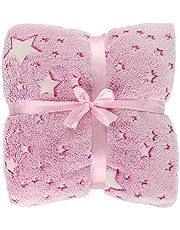 Glow in The Dark Throw Blankets 50 x 60 Inch Super Soft Fluffy Plush Luminous Blanket Star Throw Blanket Fun Birthday Gifts for All Season Girl Boy Adults