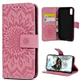 Cheap iPhone X Case, iPhone XS Wallet Case Premium PU Leather Oil Wax Embossed Elephant Detachable Magnetic Cover Credit Card Cash Slots Cover for iPhone X/XS (Embossed Sunflower-Pink)