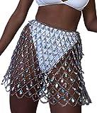 Mauwey Women Hollow Mesh Belly Chain Rhinestone Body Chain Jewelry Afro Style Swimsuit Bikini Waist Chain Beach
