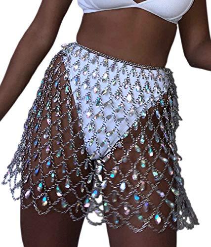 - Mauwey Women Hollow Mesh Belly Chain Rhinestone Body Chain Jewelry Afro Style Swimsuit Bikini Waist Chain Beach