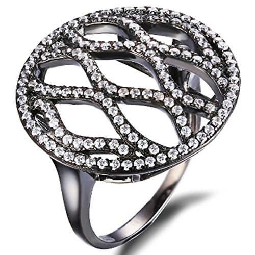 - Jewelrypalace Women's Round Shape 925 Sterling Silver Black Gold Plated Ring Size 8