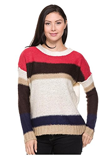 G2 Chic Women's Long Sleeve Striped Knit Casual Sweater Top(TOP-SWT,LRD-M)