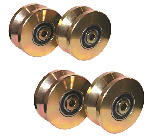 4 pack--4' V Groove Wheel Double Bearing Sliding Gate 3000 Lbs Roller Slide+screw