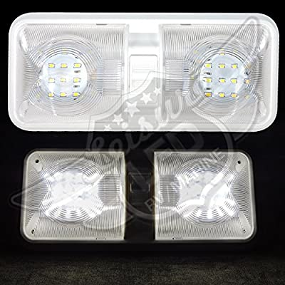 10 Pack RV LED Ceiling Double Dome Light Fixture with ON/Off Switch Interior Lighting for Car/RV/Trailer/Camper/Boat DC 12V Natural White 4000-4500K 48X2835SMD: Automotive