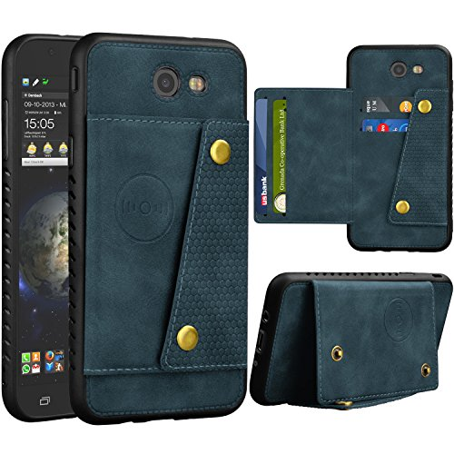 Njjex Galaxy J7 Sky Pro Wallet Case, for Galaxy J7 V /J7 Prime/J7 Perx Case, Leather ID Credit Card Slot/Holder Kickstand Snap Buttons Clousure with TPU Frame Case for Samsung Galaxy J7 2017 [Blue]
