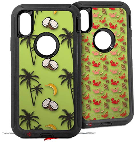 2X Decal Style Skin Wrap Set Compatible with Otterbox Defender iPhone X and Xs Case - Coconuts Palm Trees and Bananas Sage Green (CASE NOT Included)