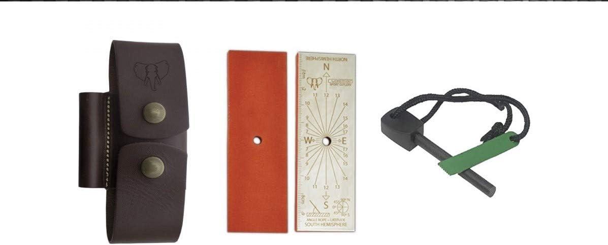 Cudeman- 644-C. Acople de Cuero Kit Completo pequeño. Herramienta para Caza, Pesca, Camping, Outdoor, Supervivencia y Bushcraft