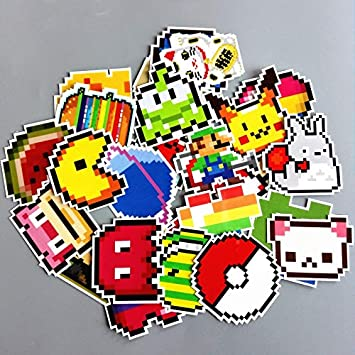 Amazoncom 25pcslot Cartoon Mario Pixel Style Sticker For