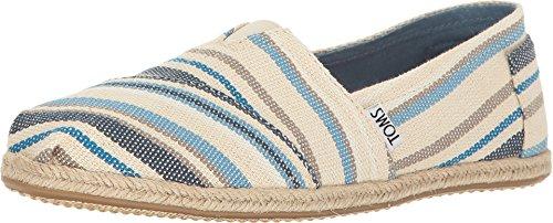 TOMS Women's Seasonal Classics Blue Aster Woven Stripe Rope Sole Loafer (Women Canva Shoes)