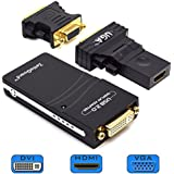 Zettaguard USB 2.0 to VGA / DVI / HDMI Multi Display Adapter / Video Graphics Adapter for Multiple Monitors up to 1920x1080 Pixels (Supports Windows 10, 8.1, 8, 7, XP)(10095)